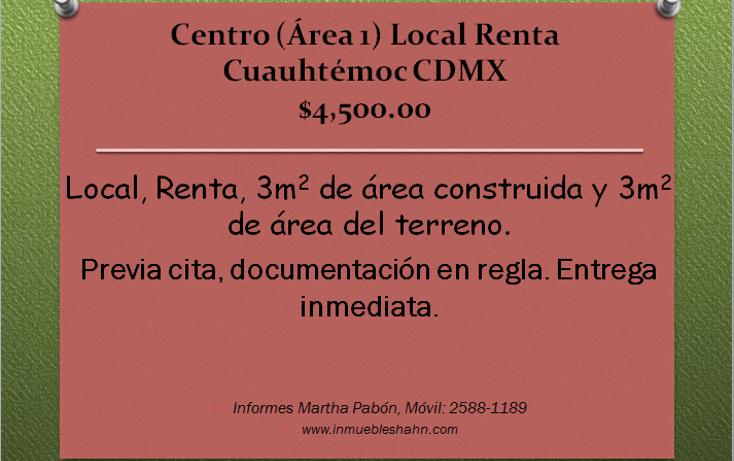 Foto de local en renta en  , centro (área 1), cuauhtémoc, distrito federal, 1262121 No. 01