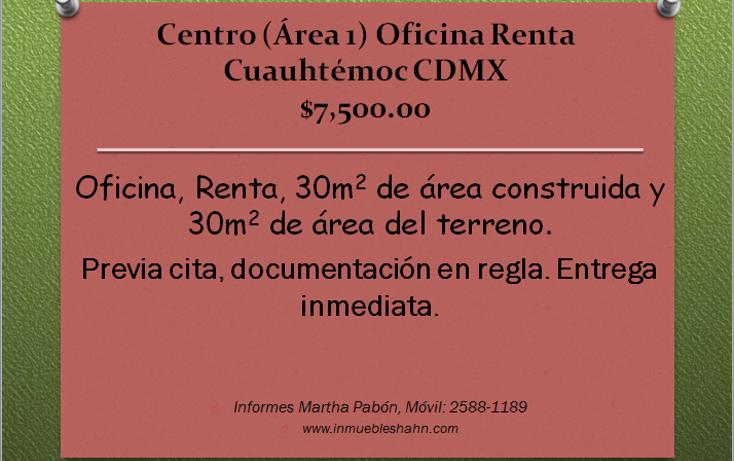 Foto de oficina en renta en  , centro (área 1), cuauhtémoc, distrito federal, 1302167 No. 01