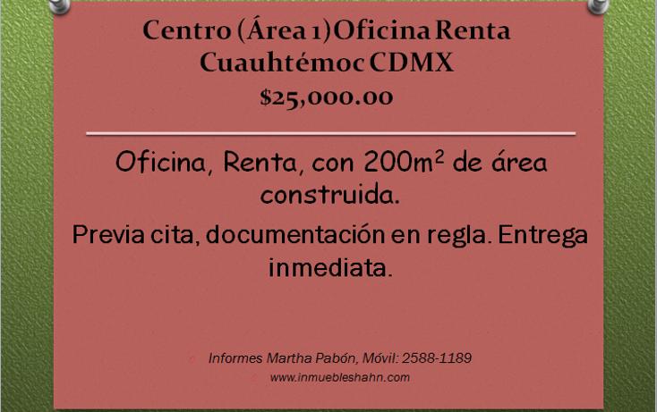 Foto de oficina en renta en  , centro (?rea 1), cuauht?moc, distrito federal, 1607842 No. 01