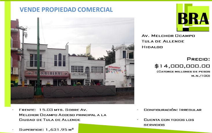 Foto de terreno comercial en venta en  , centro, tula de allende, hidalgo, 1930904 No. 01