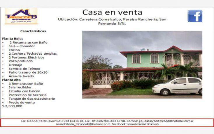 Foto de casa en venta en comalcalco paraiso, san fernando pueblo nuevo, comalcalco, tabasco, 1751938 no 01
