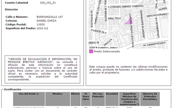 Foto de terreno comercial en venta en  , daniel garza, miguel hidalgo, distrito federal, 1761106 No. 01