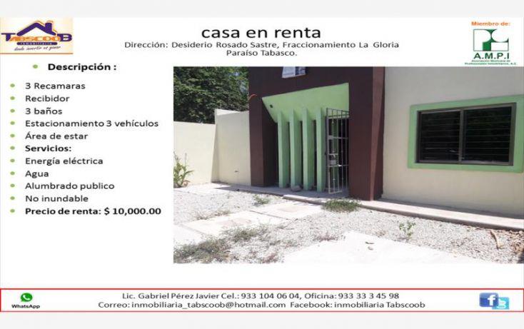 Foto de casa en renta en desiderio rosado sastre, el limón, paraíso, tabasco, 1991404 no 01