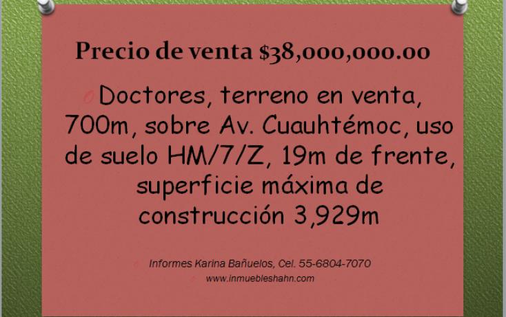 Foto de terreno habitacional en venta en, doctores, cuauhtémoc, df, 1834854 no 01