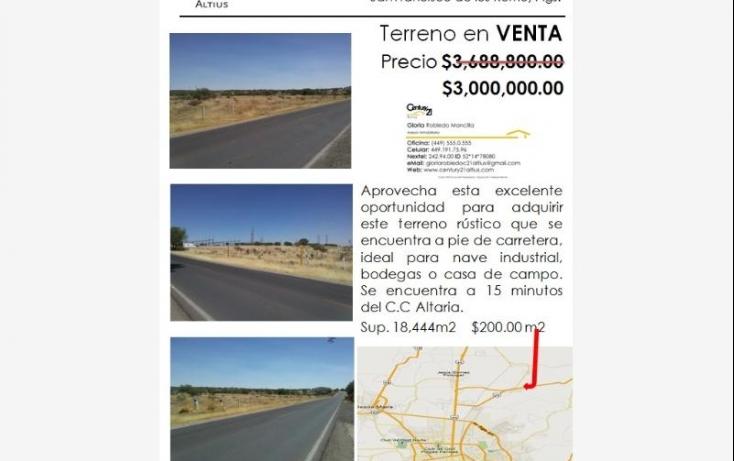 Foto de terreno comercial en venta en ejido chicalote, panamericano, san francisco de los romo, aguascalientes, 403834 no 01