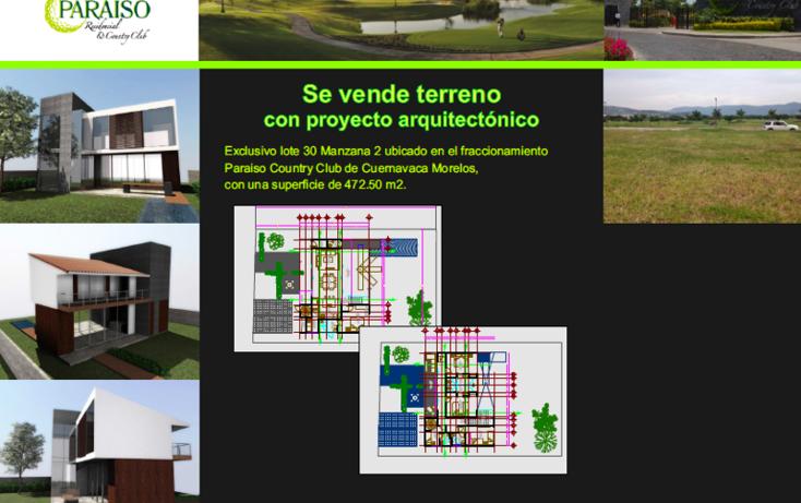 Foto de terreno habitacional en venta en  , emiliano zapata, cuernavaca, morelos, 1636400 No. 01