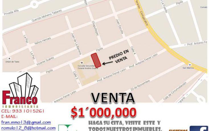 Foto de terreno habitacional en venta en francisco i madero, morelos, comalcalco, tabasco, 1536214 no 02