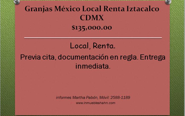 Foto de local en renta en  , granjas méxico, iztacalco, distrito federal, 1748348 No. 01