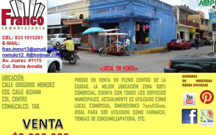 Foto de local en venta en gregorio mendez, comalcalco centro, comalcalco, tabasco, 1839972 no 02
