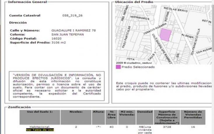 Foto de terreno habitacional en venta en guadalupe i ramirez 78, san lucas xochimanca, xochimilco, df, 1646712 no 04