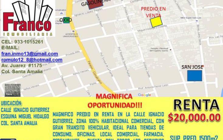 Foto de terreno comercial en renta en ignacio gutierrez, santa amalia, comalcalco, tabasco, 1735222 no 01