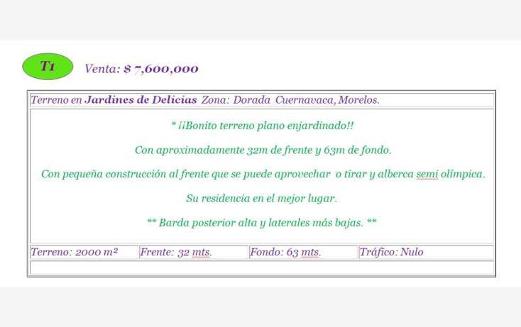 Foto de terreno habitacional en venta en  -, jardines de delicias, cuernavaca, morelos, 620812 No. 02