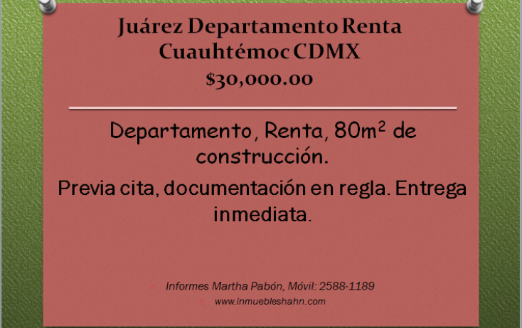 Foto de departamento en renta en, juárez, cuauhtémoc, df, 1579978 no 01