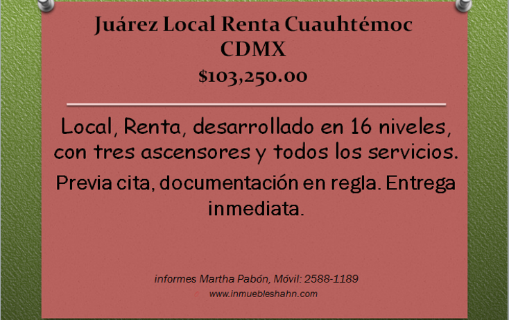 Foto de local en renta en  , ju?rez, cuauht?moc, distrito federal, 1554198 No. 01