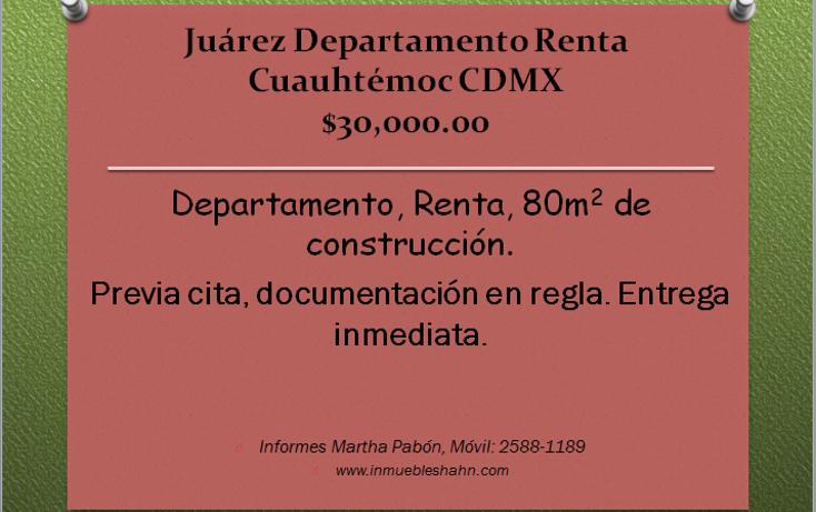 Foto de departamento en renta en  , juárez, cuauhtémoc, distrito federal, 1579978 No. 01