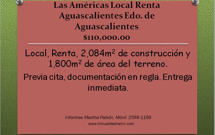Foto de local en renta en  , las américas, aguascalientes, aguascalientes, 1088049 No. 01