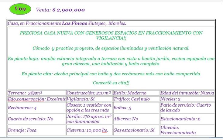 Foto de casa en venta en  , las fincas, jiutepec, morelos, 830115 No. 02