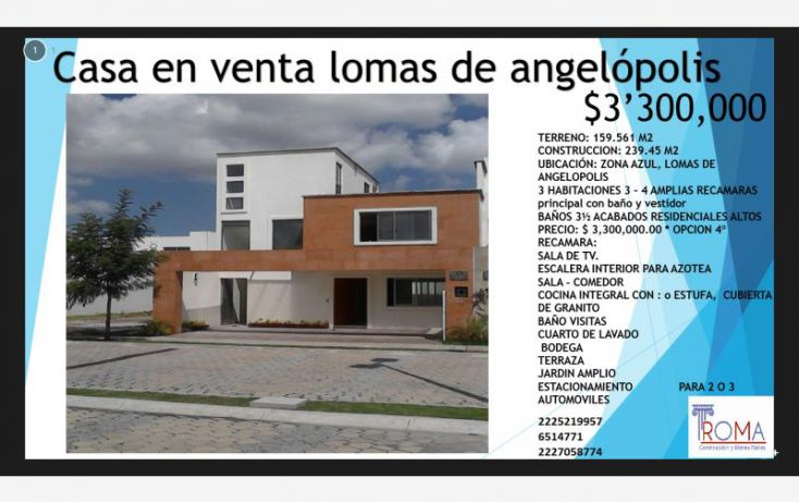 Foto de casa en venta en, lomas de angelópolis ii, san andrés cholula, puebla, 1588512 no 01