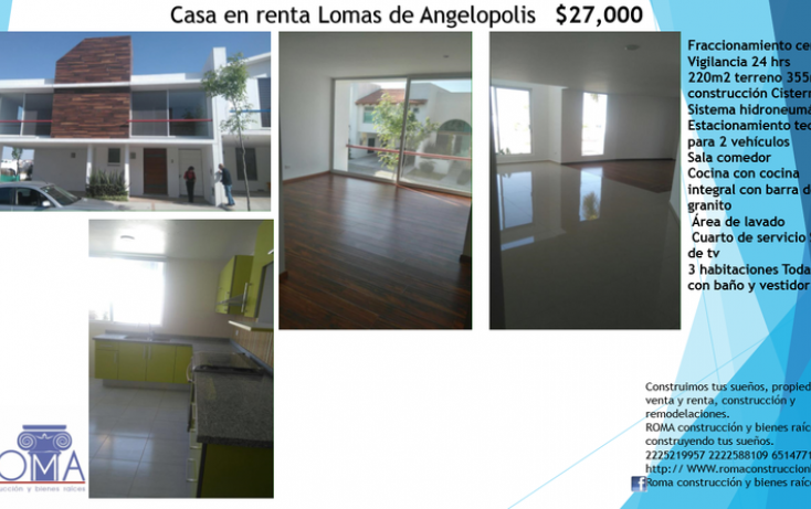 Foto de casa en renta en, lomas de angelópolis ii, san andrés cholula, puebla, 1626381 no 01