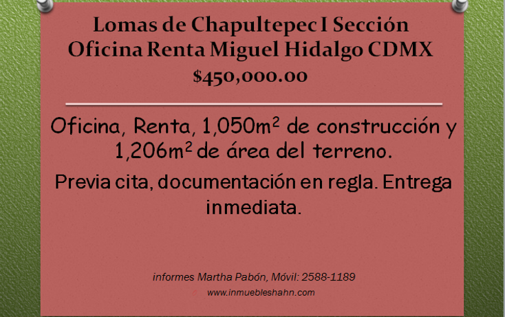 Foto de oficina en renta en  , lomas de chapultepec i sección, miguel hidalgo, distrito federal, 1297699 No. 01