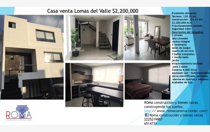 Foto de casa en venta en  , lomas del valle, puebla, puebla, 1712038 No. 01