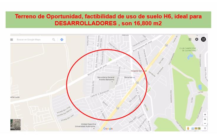 Foto de terreno habitacional en venta en  , magisterial, corregidora, querétaro, 2017360 No. 01