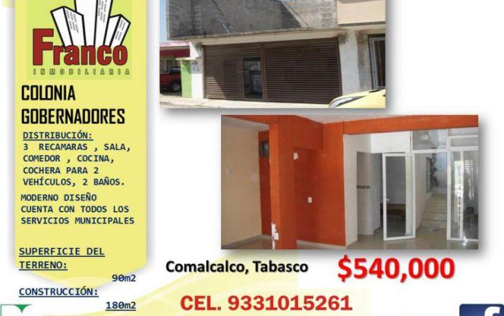 Foto de casa en venta en manuel gurria ordoñes, gobernadores, comalcalco, tabasco, 1082601 no 01