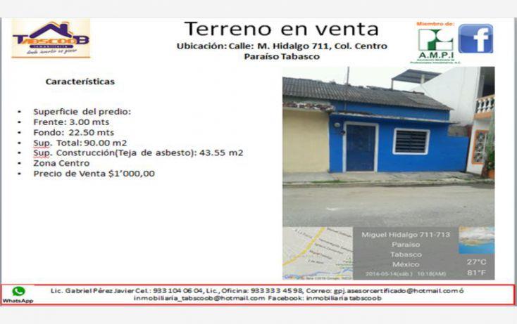 Foto de terreno comercial en venta en miguel hidalgo 711, costa real, paraíso, tabasco, 1924158 no 02