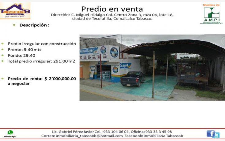 Foto de terreno comercial en venta en miguel hidalgo col centro zona 3, mza 04, lote 18, belisario dominguez, comalcalco, tabasco, 1992294 no 01