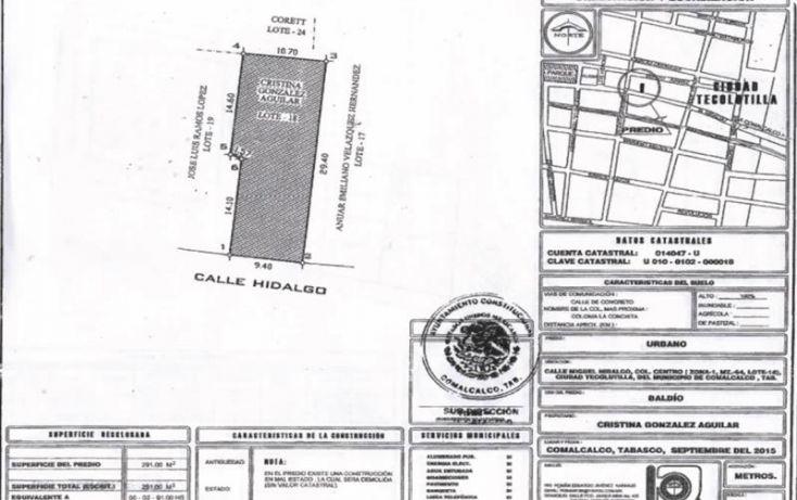 Foto de terreno comercial en venta en miguel hidalgo col centro zona 3, mza 04, lote 18, belisario dominguez, comalcalco, tabasco, 1992294 no 07