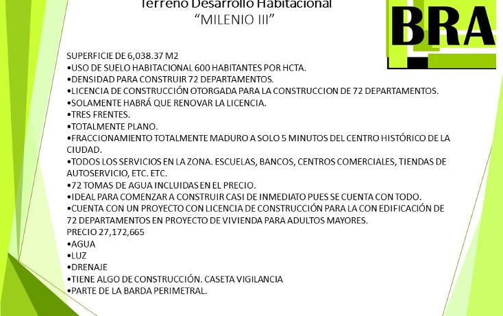 Foto de terreno habitacional en venta en  , milenio iii fase b sección 10, querétaro, querétaro, 1804060 No. 01