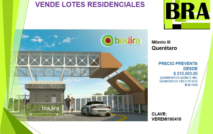 Foto de terreno habitacional en venta en  , milenio iii fase b sección 11, querétaro, querétaro, 1793822 No. 01