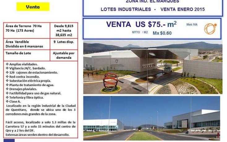 Foto de terreno industrial en venta en  nd, la noria, el marqués, querétaro, 754237 No. 02