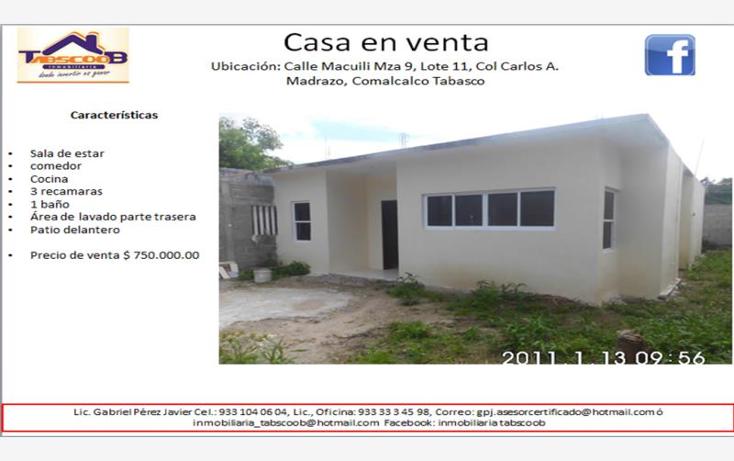 Foto de casa en venta en  nonumber, ecológica lic. carlos a. madrazo becerra, comalcalco, tabasco, 1706452 No. 01