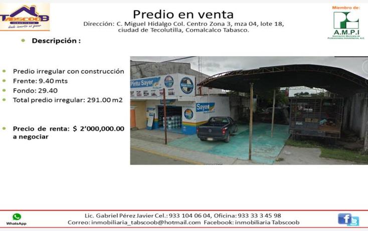 Foto de terreno comercial en venta en  nonumber, tecolutilla, comalcalco, tabasco, 1992294 No. 01