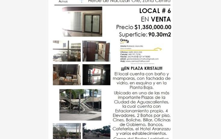 Foto de local en venta en  nonumber, zona centro, aguascalientes, aguascalientes, 384953 No. 02