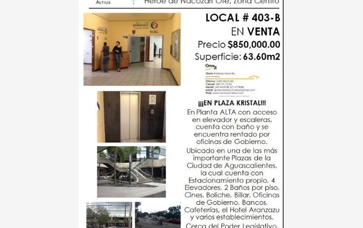 Foto de local en venta en  nonumber, zona centro, aguascalientes, aguascalientes, 384953 No. 09