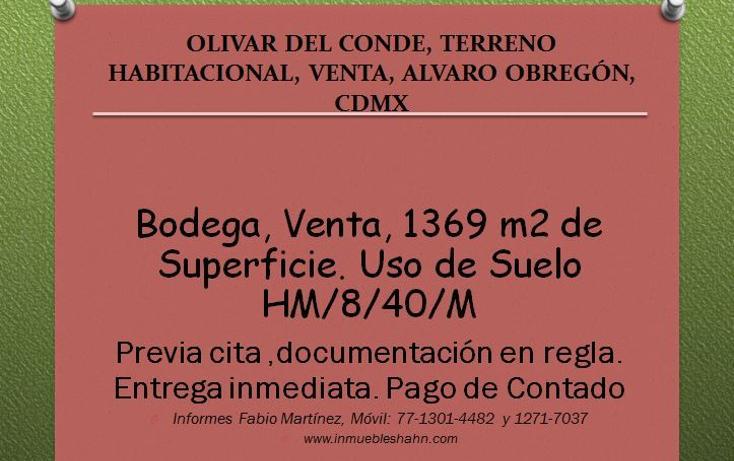 Foto de terreno habitacional en venta en  , olivar del conde 1a sección, álvaro obregón, distrito federal, 2629437 No. 01