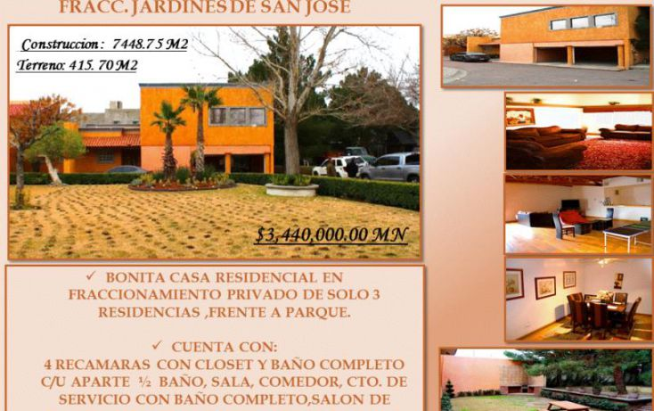 Foto de casa en venta en olivos 5120, san josé, juárez, chihuahua, 1219515 no 01