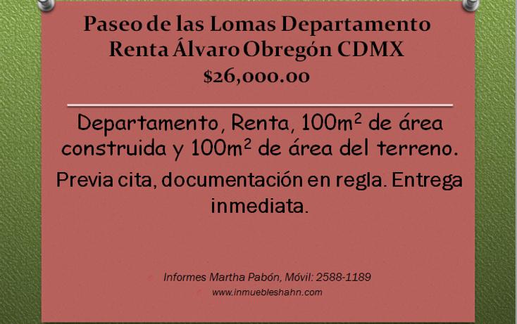 Foto de departamento en renta en  , paseo de las lomas, álvaro obregón, distrito federal, 1089473 No. 01