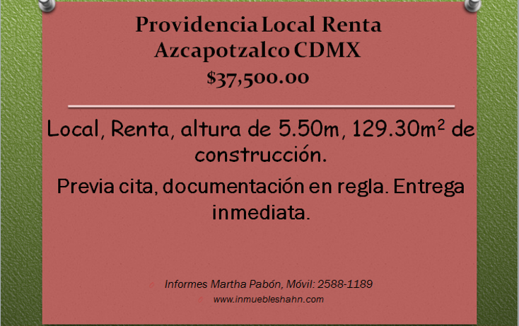 Foto de local en renta en  , providencia, azcapotzalco, distrito federal, 1121657 No. 01