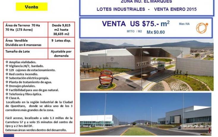 Foto de terreno industrial en venta en ptiq  advance, la noria, el marqués, querétaro, 754237 no 02