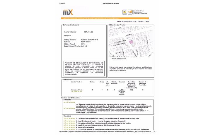 Foto de terreno habitacional en venta en  , roma norte, cuauht?moc, distrito federal, 1718950 No. 06