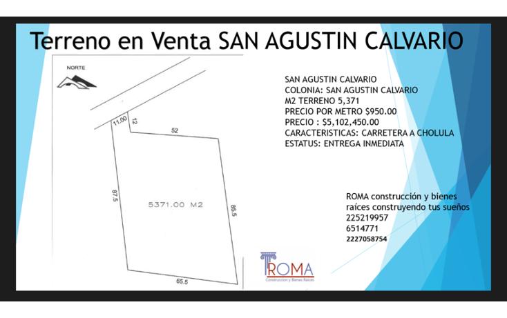 Foto de terreno habitacional en venta en  , san agust?n calvario, san pedro cholula, puebla, 1452319 No. 01