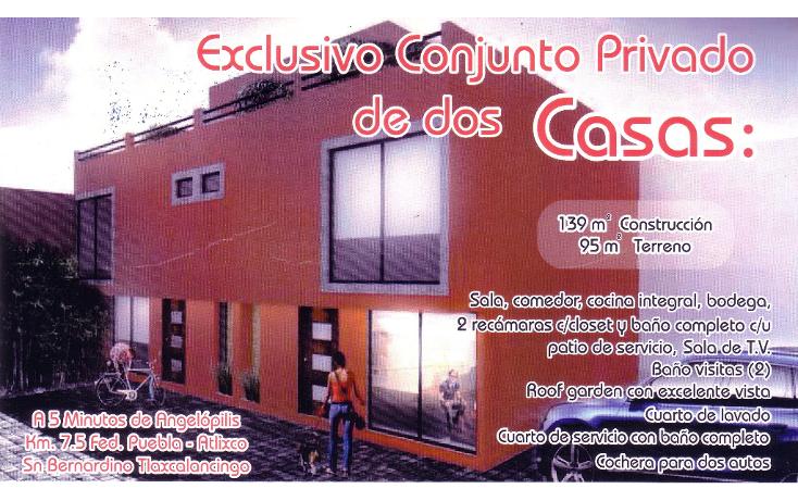 Foto de casa en venta en  , san bernardino tlaxcalancingo, san andrés cholula, puebla, 1143047 No. 01