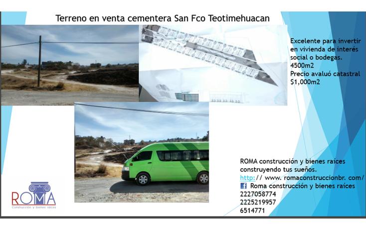 Foto de terreno habitacional en venta en  , san francisco totimehuacan, puebla, puebla, 1680214 No. 01