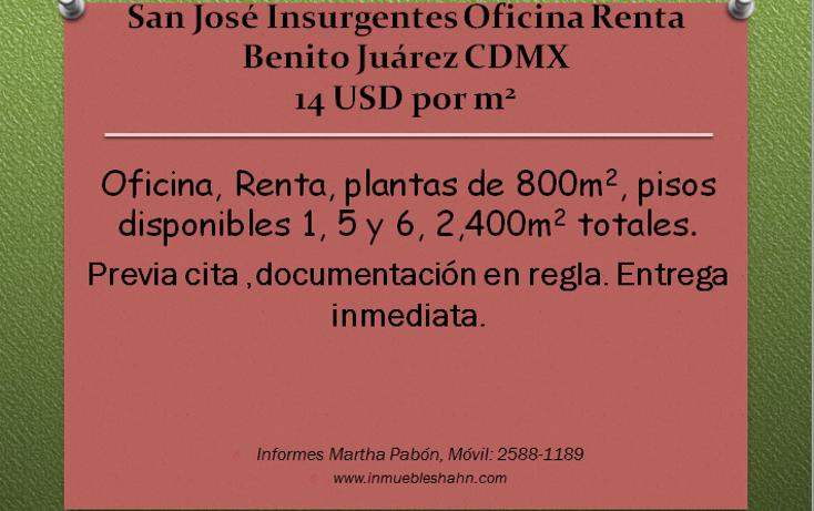 Foto de oficina en renta en  , san josé insurgentes, benito juárez, distrito federal, 1066603 No. 01