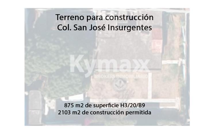Foto de terreno habitacional en venta en  , san josé insurgentes, benito juárez, distrito federal, 2007140 No. 01