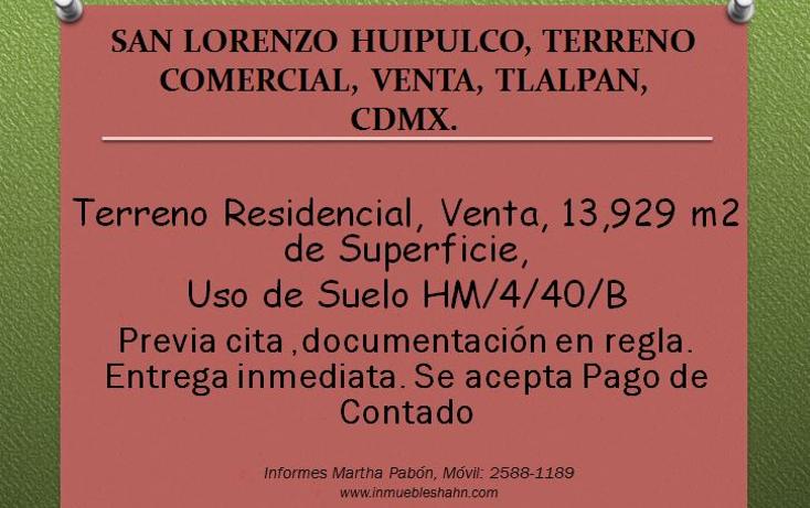 Foto de terreno comercial en venta en  , san lorenzo huipulco, tlalpan, distrito federal, 1087025 No. 01