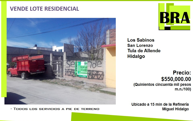 Foto de terreno habitacional en venta en  , san lorenzo, tula de allende, hidalgo, 1557232 No. 01